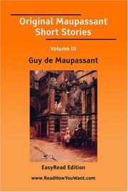 Cover of: Original Maupassant Short Stories Volume III