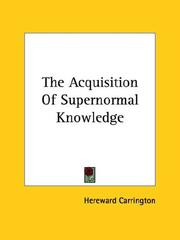 Cover of: The Acquisition of Supernormal Knowledge