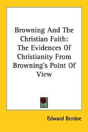 Cover of: Browning and the Christian Faith | Berdoe, Edward