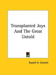 Cover of: Transplanted Joys and the Great Untold