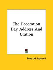 Cover of: The Decoration Day Address and Oration