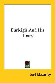 Cover of: Burleigh and His Times