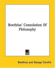 Cover of: Boethius' Consolation of philosophy