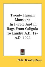 Cover of: Twenty Human Monsters | Philip Beaufoy Barry
