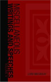 Cover of: The Miscellaneous Writings and Speeches, Volume II