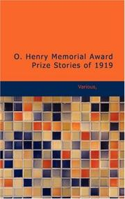 Cover of: O. Henry Memorial Award Prize Stories of 1919