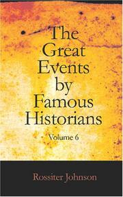 Cover of: The Great Events by Famous Historians, Volume VI