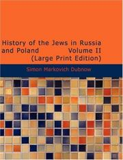 Cover of: History of the Jews in Russia and Poland Volume II (Large Print Edition) | Simon Markovich Dubnow