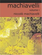 Cover of: Machiavelli - Volume I