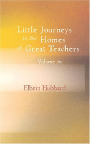 Cover of: Little Journeys to the Homes of the Great Volume 10