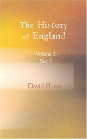 Cover of: The History of England Vol.I. Part E.
