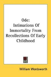 Cover of: Ode: Intimations Of Immortality From Recollections Of Early Childhood