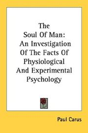 Cover of: The Soul Of Man: An Investigation Of The Facts Of Physiological And Experimental Psychology