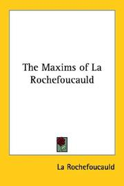 Cover of: The Maxims of La Rochefoucauld