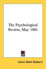 Cover of: The Psychological Review, May 1901