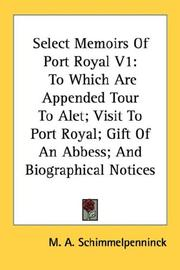 Cover of: Select Memoirs Of Port Royal V1