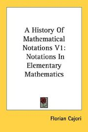 Cover of: A History Of Mathematical Notations V1