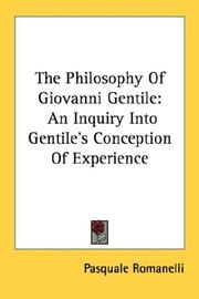 Cover of: The Philosophy Of Giovanni Gentile | Pasquale Romanelli