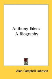 Cover of: Anthony Eden | Alan Campbell Johnson