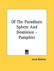 Cover of: Of The Paradisaic Sphere And Dominion - Pamphlet