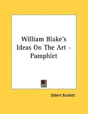 Cover of: William Blake's Ideas On The Art - Pamphlet
