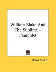 Cover of: William Blake And The Sublime - Pamphlet
