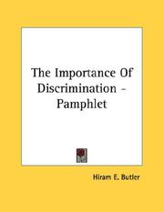 Cover of: The Importance Of Discrimination - Pamphlet