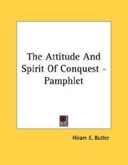 Cover of: The Attitude And Spirit Of Conquest - Pamphlet
