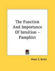 Cover of: The Function And Importance Of Intuition - Pamphlet
