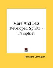 Cover of: More And Less Developed Spirits - Pamphlet