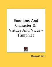 Cover of: Emotions And Character Or Virtues And Vices - Pamphlet
