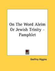 Cover of: On The Word Aleim Or Jewish Trinity - Pamphlet