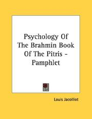 Cover of: Psychology Of The Brahmin Book Of The Pitris - Pamphlet | Louis Jacolliot