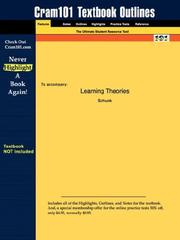 Cover of: Outlines & Highlights for Learning Theories by Schunk, ISBN | Cram101 Textbook Reviews