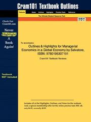 Cover of: Outlines & Highlights for Managerial Economics in a Global Economy by Salvatore, ISBN | Cram101 Textbook Reviews
