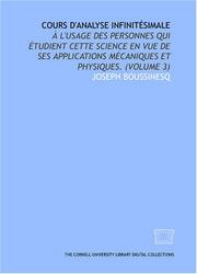 Cover of: Cours d'analyse infinitésimale