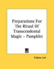 Cover of: Preparations For The Ritual Of Transcendental Magic - Pamphlet | Eliphas Levi