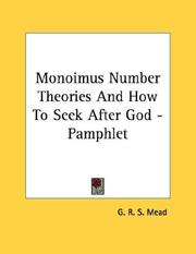 Monoimus Number Theories And How To Seek After God - Pamphlet