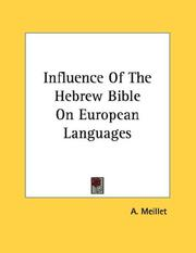 Cover of: Influence Of The Hebrew Bible On European Languages