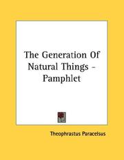 Cover of: The Generation Of Natural Things - Pamphlet