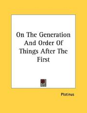 Cover of: On The Generation And Order Of Things After The First | Plotinus