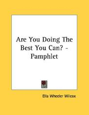 Cover of: Are You Doing The Best You Can? - Pamphlet
