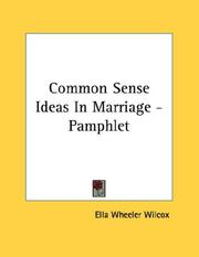 Cover of: Common Sense Ideas In Marriage - Pamphlet
