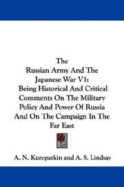 Cover of: The Russian Army And The Japanese War V1