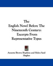 Cover of: The English Novel Before The Nineteenth Century |