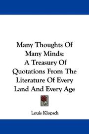 Cover of: Many Thoughts Of Many Minds | Louis Klopsch