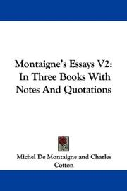 Cover of: Montaigne's Essays V2