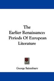 Cover of: The Earlier Renaissance: Periods Of European Literature