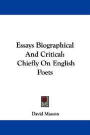 Cover of: Essays Biographical And Critical