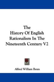 Cover of: The History Of English Rationalism In The Nineteenth Century V2